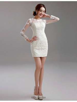 Sheath Column Jewel Short Mini Lace Wedding Dress with Appliques