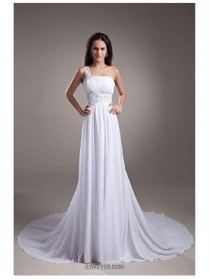 A line Sexy One Shoulder Court Train Chiffon Satin Wedding Dress with Beading Draped