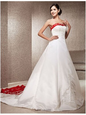 A line Princess Strapless Chapel Train Satin Wedding Dress with Appliques Embroidered
