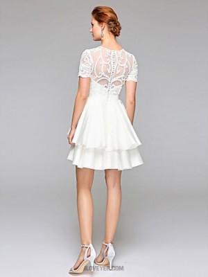 Ball Gown Jewel Short Mini Chiffon Lace Wedding Dress with Sash Ribbon Draped