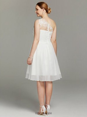 A line Sexy One Shoulder Knee Length Chiffon Lace Wedding Dress with Sashes Ribbons