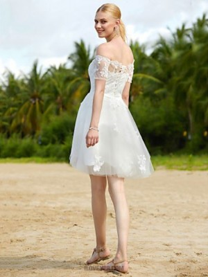 A line Off the shoulder Short Mini Tulle Wedding Dress with Appliques Sashes Ribbons