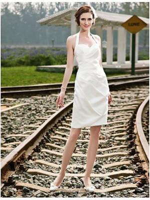 Sheath Column Halter Short Mini Satin Wedding Dress with Side Draped