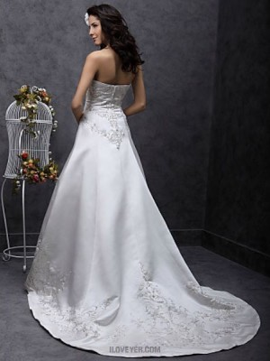 A line Princess Strapless Sweep Brush Train Satin Wedding Dress with Beading Embroidered
