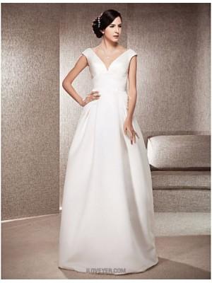 A line Princess V neck Floor Length Satin Wedding Dress with Draped