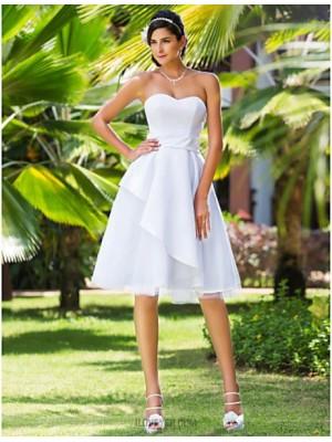 A line Princess Sweetheart Knee Length Satin Tulle Wedding Dress with Sash Ribbon
