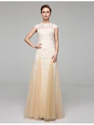 A line Jewel Floor Length Chiffon Lace Wedding Dress with Appliques Draped