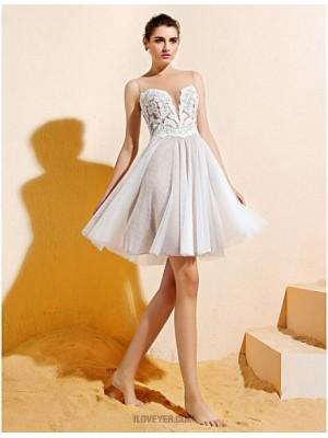 A Line Bateau Neck Knee Length Lace Tulle Bridesmaid Dress with Appliques Buttons