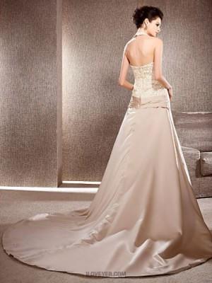 A line Princess V neck Chapel Train Lace Satin Wedding Dress with Lace Flower Ruche