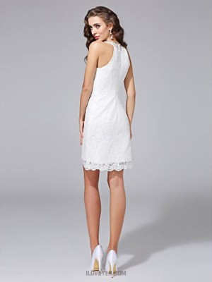 Sheath Column Jewel Short Mini Lace Wedding Dress with Beading