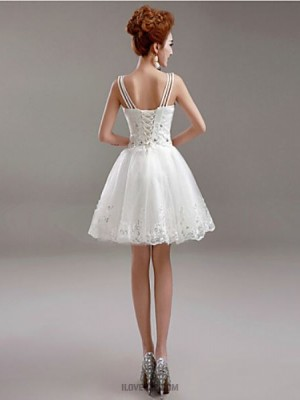 A line V neck Short Mini Tulle Wedding Dress with Beading Appliques
