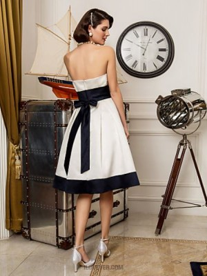 A line Princess Strapless Knee Length Satin Wedding Dress with Sash Ribbon Bow