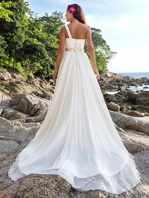 A Line Sexy One Shoulder Chapel Train Chiffon Wedding Dress with Beading Sash Ribbon Button Criss Cross