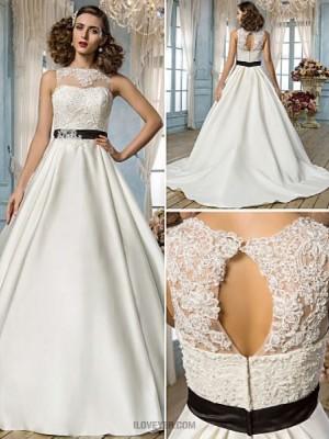 A line Princess Jewel Floor Length Lace Satin Wedding Dress with Beading Appliques Sash Ribbon