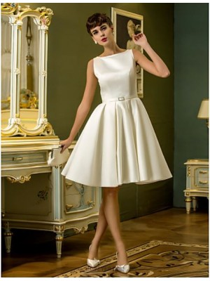 A line Bateau Knee Length Satin Wedding Dress with Sash Ribbon