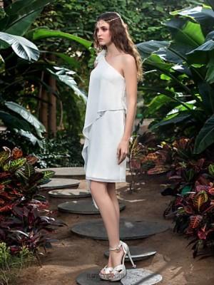 Sheath Column Sexy One Shoulder Short Mini Chiffon Wedding Dress with Flower
