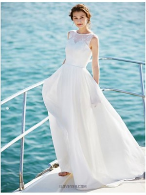 A line Scoop Floor Length Chiffon Wedding Dress with Lace
