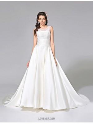A line Jewel Chapel Train Satin Wedding Dress with Appliques Sash Ribbon Ruche
