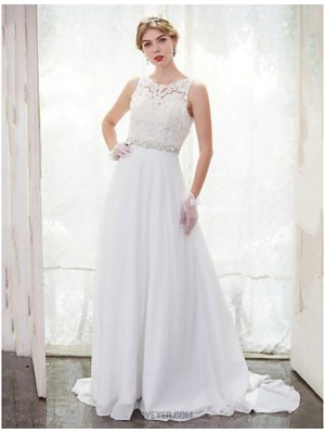 A line Scoop Chapel Train Chiffon Lace Wedding Dress with Beading Lace Button