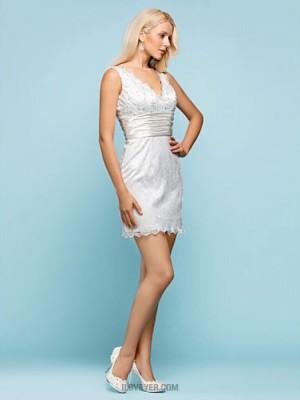 Sheath Column V neck Short Mini Lace Wedding Dress with Beading Sash Ribbon Button