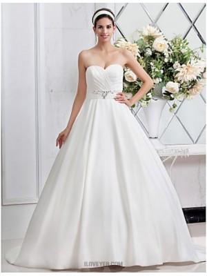 A line Princess Sweetheart Sweep Brush Train Satin Wedding Dress with Beading Sash Ribbon Criss Cross Ruche