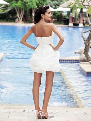 Ball Gown Sweetheart Short Mini Satin Wedding Dress with Criss Cross Pick Up