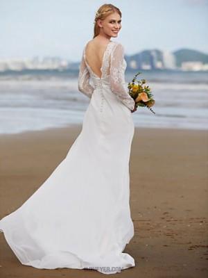 A line Bateau Sweep Brush Train Chiffon Lace Wedding Dress with Lace Sash Ribbon Side Draped
