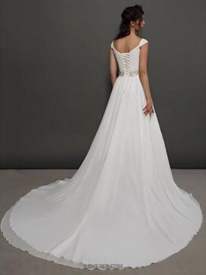 A line Princess Straps Chapel Train Chiffon Wedding Dress with Beading Sash Ribbon Criss Cross Ruche