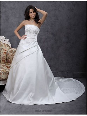 A line Princess Strapless Chapel Train Satin Wedding Dress with Beading Appliques Side Draped