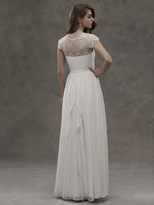 A line Jewel Floor Length Chiffon Lace Wedding Dress with Lace Button