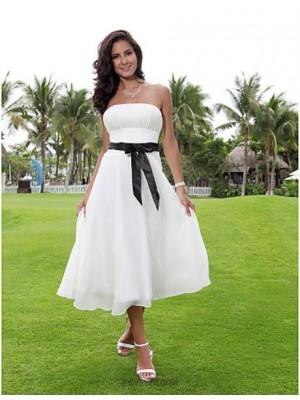 A line Strapless Tea Length Chiffon Wedding Dress with Sash Ribbon