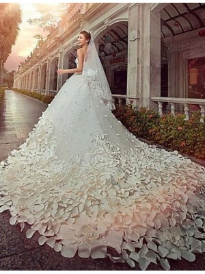 A line Princess Strapless Cathedral Train Satin Tulle Wedding Dress with Beading