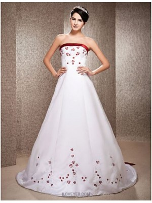 A line Princess Strapless Chapel Train Satin Wedding Dress with Beading Embroidered