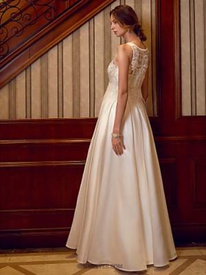 A Line Bateau Neck Floor Length Satin Wedding Dress with Beading Appliques Feathers Fur Pockets