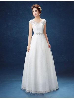 A line Scoop Floor Length Lace Satin Tulle Wedding Dress with Lace