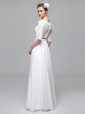 A line Bateau Floor Length Chiffon Lace Wedding Dress with Appliques Draped