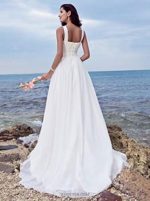 A line Jewel Sweep Brush Train Chiffon Wedding Dress with Draped Ruche