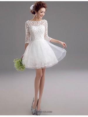 A line Bateau Short Mini Lace Wedding Dress with Beading