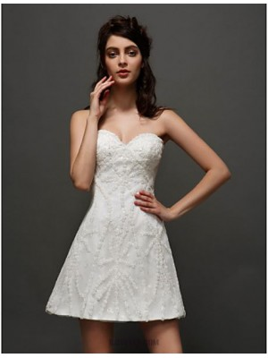 A line Sweetheart Short Mini Tulle Wedding Dress with Appliques