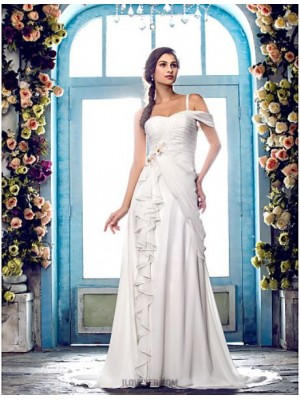 A line Sexy One Shoulder Sweep Brush Train Chiffon Wedding Dress with Beading Appliques Criss Cross Flower