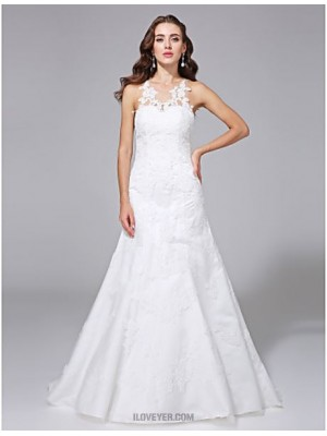 A line Jewel Sweep Brush Train Lace Satin Wedding Dress with Appliques Button