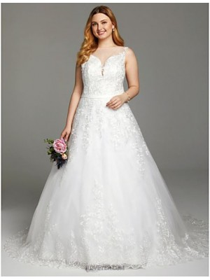 A line Bateau Court Train Lace Tulle Wedding Dress with Appliques Buttons Sashes Ribbons