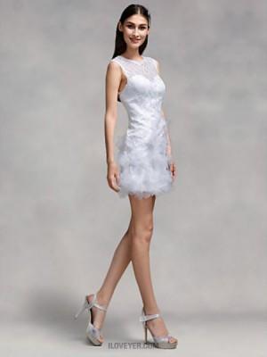 Sheath Column Jewel Short Mini Lace Wedding Dress with Flower