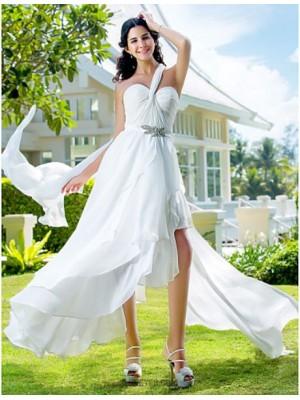 A Line Sexy One Shoulder Asymmetrical Chiffon Wedding Dress with Sash Ribbon Side Draped Criss Cross Crystal Floral Pin
