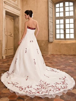 A Line Princess Strapless Cathedral Train Organza Satin Wedding Dress with Embroidered Flower