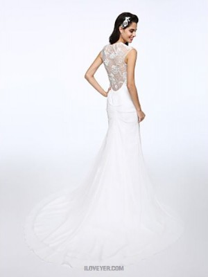A line Jewel Court Train Chiffon Lace Wedding Dress with Appliques