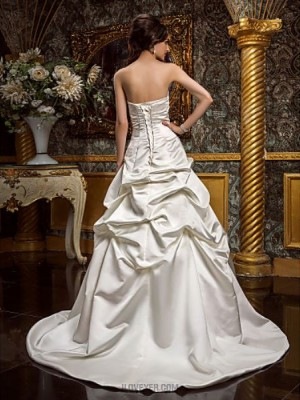 A line Princess Strapless Sweep Brush Train Satin Wedding Dress with Pick Up