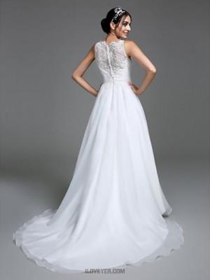 A line Jewel Court Train Organza Satin Wedding Dress with Appliques Button Ruche
