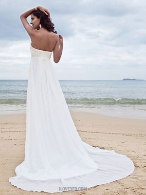 A line Sweetheart Court Train Chiffon Wedding Dress with Beading Appliques
