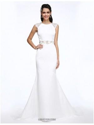 A line Jewel Court Train Stretch Chiffon Wedding Dress with Crystal Beading